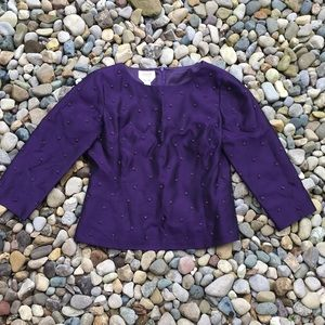 Talbots Purple Beaded Embellished Blouse Women's 6